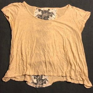 Beige Crop Top with Lace Back